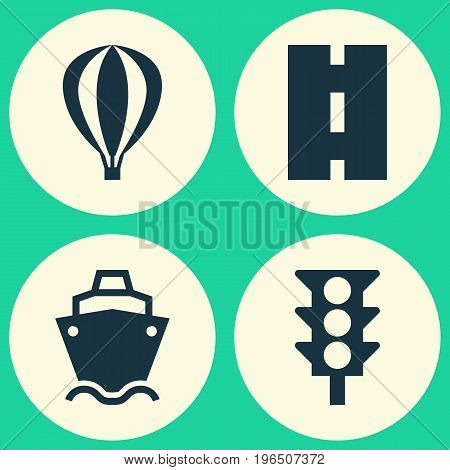 Shipment Icons Set. Collection Of Stoplight, Airship, Tanker And Other Elements