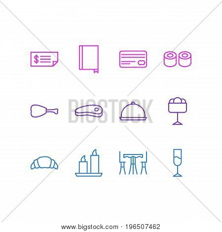 Vector Illustration Of 12 Eating Icons. Editable Pack Of Card, Leg, Sundae And Other Elements.