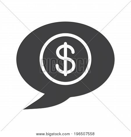 Money talk glyph icon. Silhouette symbol. Chat box with dollar coin inside. Business conversation. Negative space. Vector isolated illustration