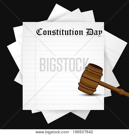 illustration of papers and gavel with Constitution Day text on the occasion of USA Constitution Day