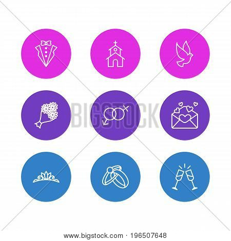 Editable Pack Of Bridegroom Dress, Pigeon, Wineglass And Other Elements. Vector Illustration Of 9 Wedding Icons.