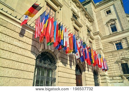 many flags of countries of the world
