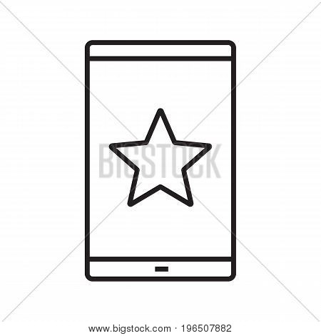 Smarphone bookmark linear icon. Thin line illustration. Smart phone with star mark contour symbol. Vector isolated outline drawing