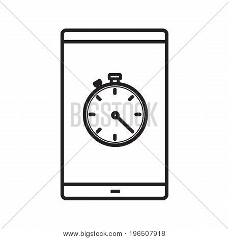 Smartphone stopwatch app linear icon. Thin line illustration. Smart phone with timer contour symbol. Vector isolated outline drawing