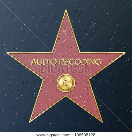 Hollywood Walk Of Fame. Vector Star Illustration. Famous Sidewalk Boulevard. Phonograph Record Representing Audio Recording Or Music.