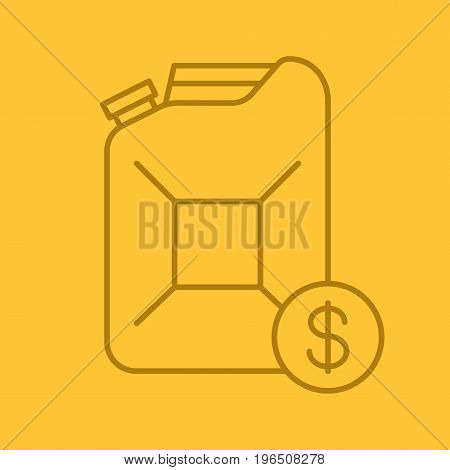 Petrol trade color linear icon. Petroleum jerrycan with dollar sign. Thin line outline symbols on color background. Vector illustration