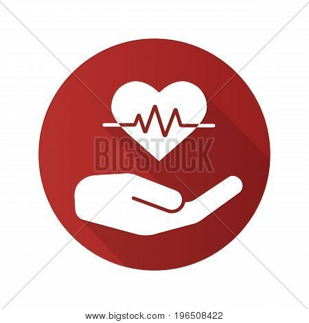Heart care flat design long shadow glyph icon. Human hand with heartbeat curve. Vector silhouette illustration