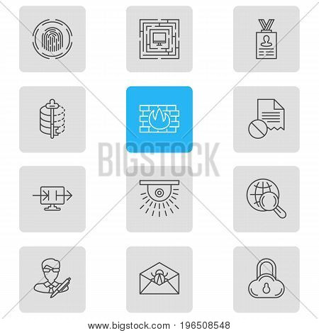 Editable Pack Of Finger Identifier, Network Protection, System Security And Other Elements. Vector Illustration Of 12 Data Icons.