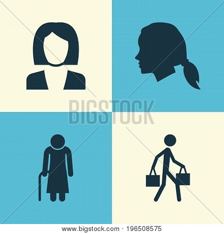People Icons Set. Collection Of Old Woman, Gentlewoman Head, Delivery Person And Other Elements