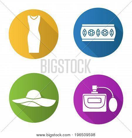 Women's accessories flat design long shadow glyph icons set. Sleeveless evening dress, metal bracelet, hat, perfume. Vector silhouette illustration