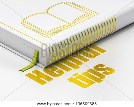 Learning concept: closed book with Gold Book icon and text Helpful Tips on floor, white background, 3D rendering