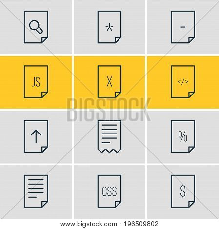Editable Pack Of Percent, Download, Dollar And Other Elements. Vector Illustration Of 12 File Icons.