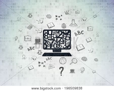 Studying concept: Painted black Computer Pc icon on Digital Data Paper background with  Hand Drawn Education Icons