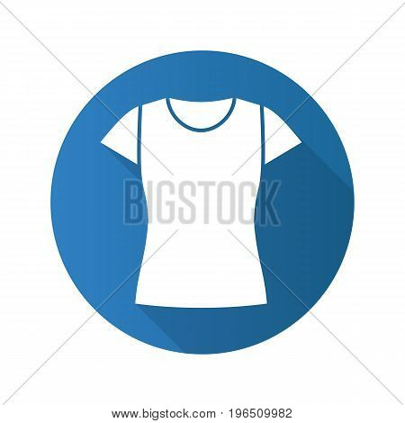 Women's t-shirt flat design long shadow glyph icon. Vector silhouette illustration
