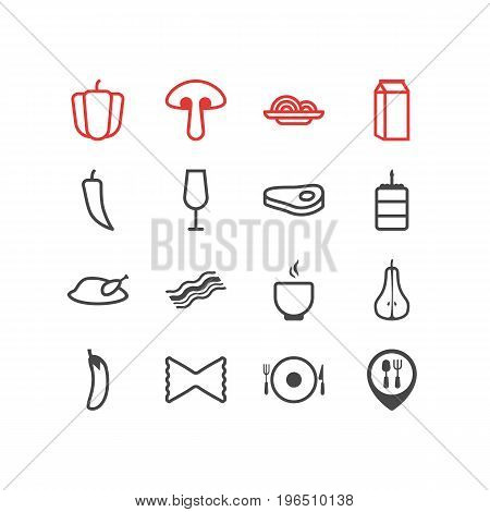 Editable Pack Of Aubergine, Chili, Macaroni And Other Elements. Vector Illustration Of 16 Meal Icons.