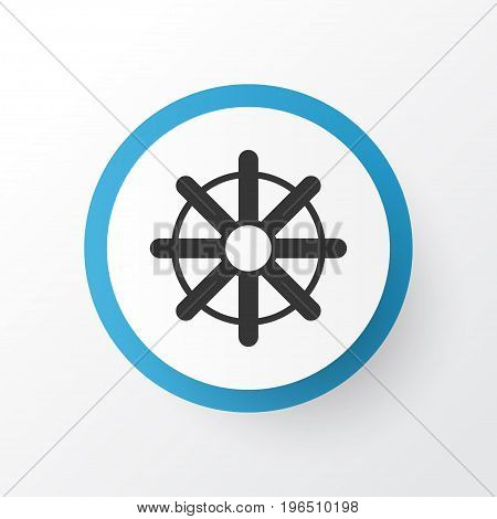 Rudder Icon Symbol. Premium Quality Isolated Steering Wheel Element In Trendy Style.