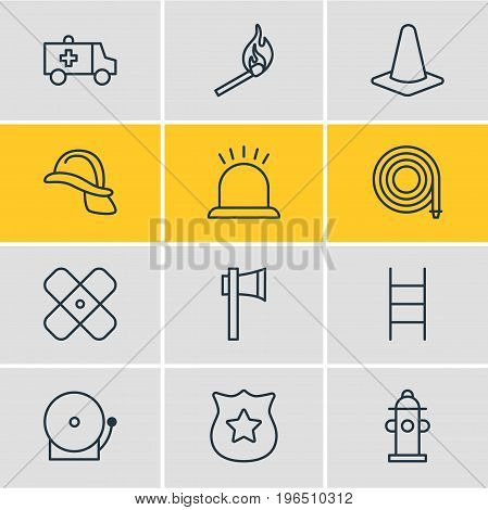 Vector Illustration Of 12 Extra Icons. Editable Pack Of Alarm, Water, Ax And Other Elements.