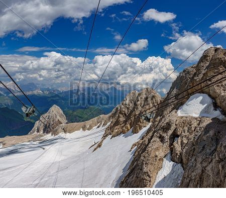 Top view of cable car from The highest peak in the Italian Dolomites, the Marmolada mountain range.
