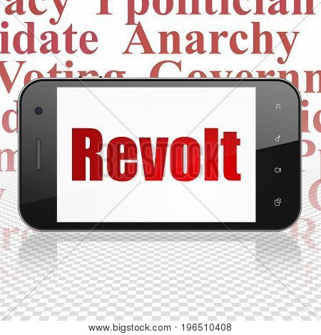 Politics concept: Smartphone with  red text Revolt on display,  Tag Cloud background, 3D rendering
