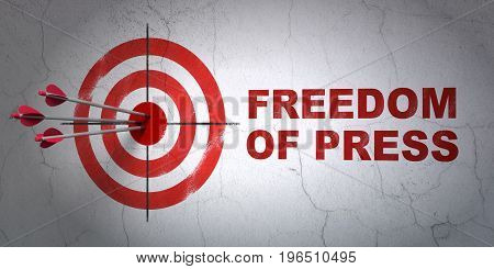 Success politics concept: arrows hitting the center of target, Red Freedom Of Press on wall background, 3D rendering