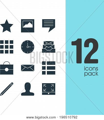 Vector Illustration Of 12 Web Icons. Editable Pack Of Account, Maximize, Bookmark And Other Elements.