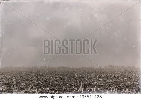 Old Black And White Photo Of Agricultural Land In Morning Mist.