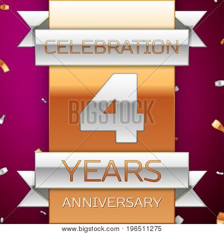 Realistic Four Years Anniversary Celebration Design. Silver and golden ribbon, confetti on purple background. Colorful Vector template elements for your birthday party. Anniversary ribbon