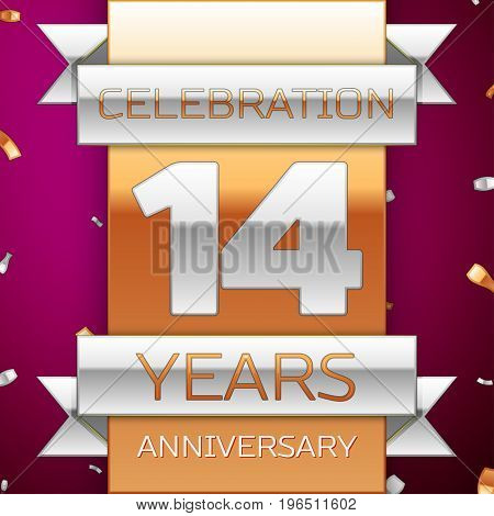 Realistic Fourteen Years Anniversary Celebration Design. Silver and golden ribbon, confetti on purple background. Colorful Vector template elements for your birthday party. Anniversary ribbon