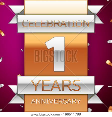 Realistic One Years Anniversary Celebration Design. Silver and golden ribbon, confetti on purple background. Colorful Vector template elements for your birthday party. Anniversary ribbon