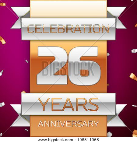 Realistic Twenty six Years Anniversary Celebration Design. Silver and golden ribbon, confetti on purple background. Colorful Vector template elements for your birthday party. Anniversary ribbon