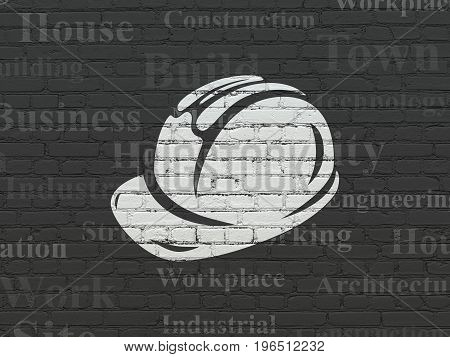 Building construction concept: Painted white Safety Helmet icon on Black Brick wall background with  Tag Cloud