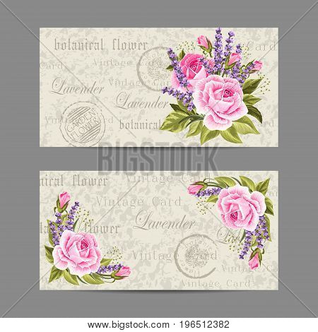 Set of horizontal banners. Beautiful compositions with pink roses and lavenders. Vintage postcard background. Vector illustration.