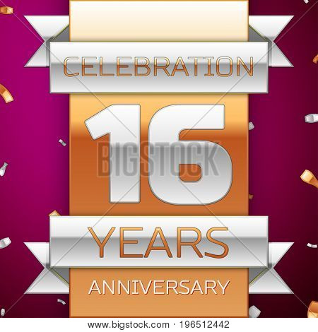 Realistic Sixteen Years Anniversary Celebration Design. Silver and golden ribbon, confetti on purple background. Colorful Vector template elements for your birthday party. Anniversary ribbon