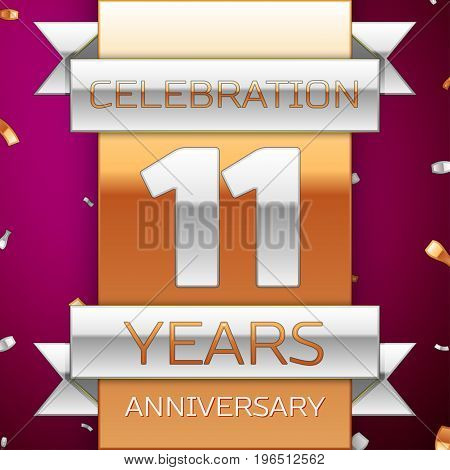 Realistic Eleven Years Anniversary Celebration Design. Silver and golden ribbon, confetti on purple background. Colorful Vector template elements for your birthday party. Anniversary ribbon