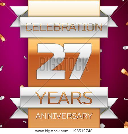 Realistic Twenty seven Years Anniversary Celebration Design. Silver and golden ribbon, confetti on purple background. Colorful Vector template elements for your birthday party. Anniversary ribbon