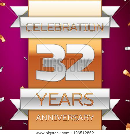 Realistic Thirty two Years Anniversary Celebration Design. Silver and golden ribbon, confetti on purple background. Colorful Vector template elements for your birthday party. Anniversary ribbon