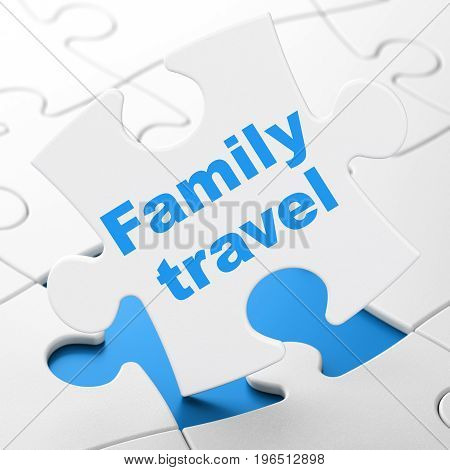 Tourism concept: Family Travel on White puzzle pieces background, 3D rendering