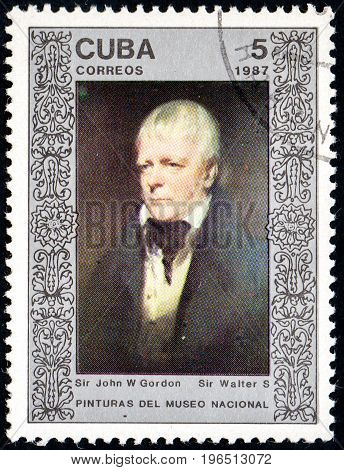 UKRAINE - CIRCA 2017: A postage stamp printed in Cuba shows Walter Scott by John W. Gordon from series West. Europ. paintings from the National Museum in Havana circa 1987