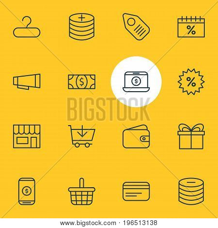Vector Illustration Of 16 Commerce Icons. Editable Pack Of Trading, Present, Buy And Other Elements.