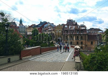 LUBLIN POLAND - 07 july 2017 - a bridge connecting old town with castle