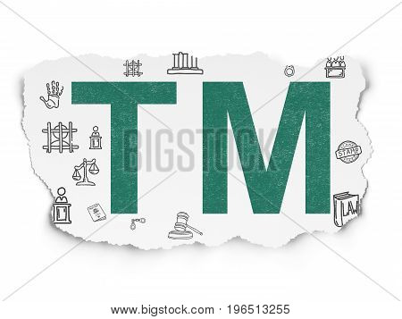 Law concept: Painted green Trademark icon on Torn Paper background with  Hand Drawn Law Icons
