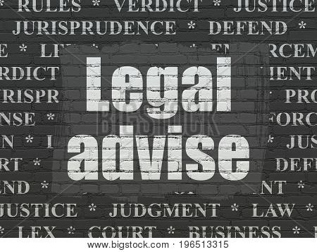 Law concept: Painted white text Legal Advise on Black Brick wall background with  Tag Cloud