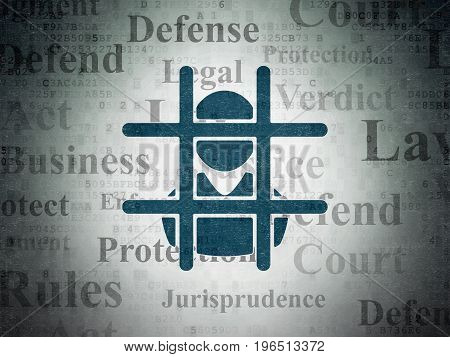 Law concept: Painted blue Criminal icon on Digital Data Paper background with  Tag Cloud