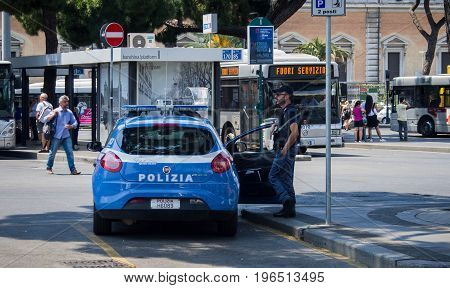 Termini, Rome, Italy - June 17th 2017 : Policeman patrolling Termini metro station in Rome, Italy