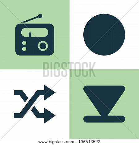 Media Icons Set. Collection Of Randomize, Tuner, Circle Elements