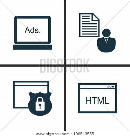SEO Icons Set. Collection Of Report, Coding, Security And Other Elements