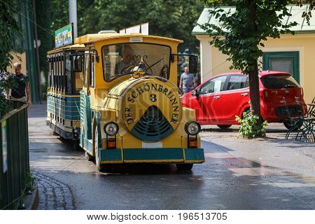 VIENNA/ AUSTRIA - JULY 8, 2017. Vienna Schoenbrunner Gardens Mini-Train Tour in the center of Vienna, Austria.