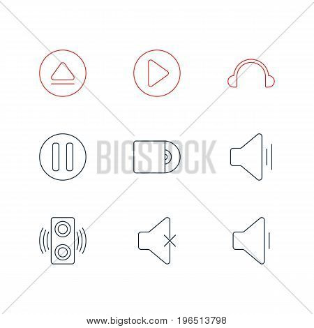 Editable Pack Of Soundless, Start, Audio And Other Elements. Vector Illustration Of 9 Melody Icons.