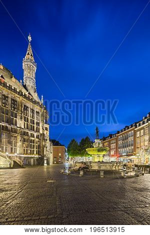 Aachen Town Hall And Fountain At Night, Editorial