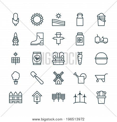 Farm Icons Set. Collection Of Barrier, Agrimotor, Plant Seeds And Other Elements